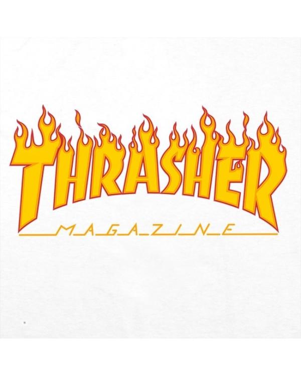 CAMISETA THRASHER LOGO FLAME WHITE (UNISEX)