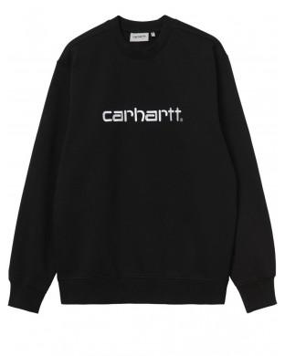 sudadera Carhartt negra con Logo Scrip bordado.